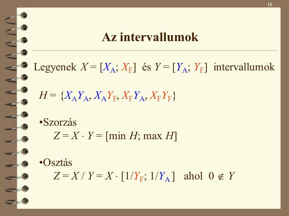 Az intervallumok Legyenek X = [XA; XF] és Y = [YA; YF] intervallumok